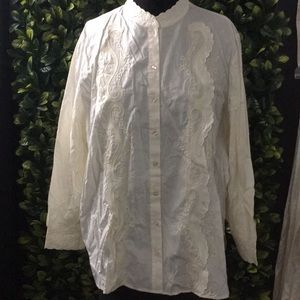 White embroidered dress shirt
